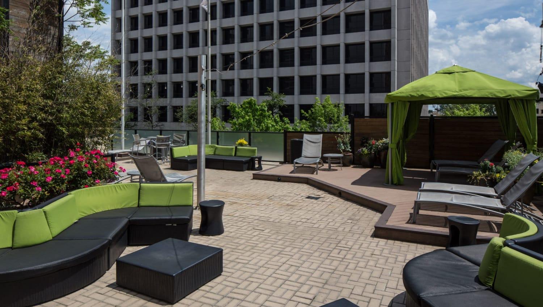 Outdoor patio area at Solace on Peachtree in Atlanta, Georgia