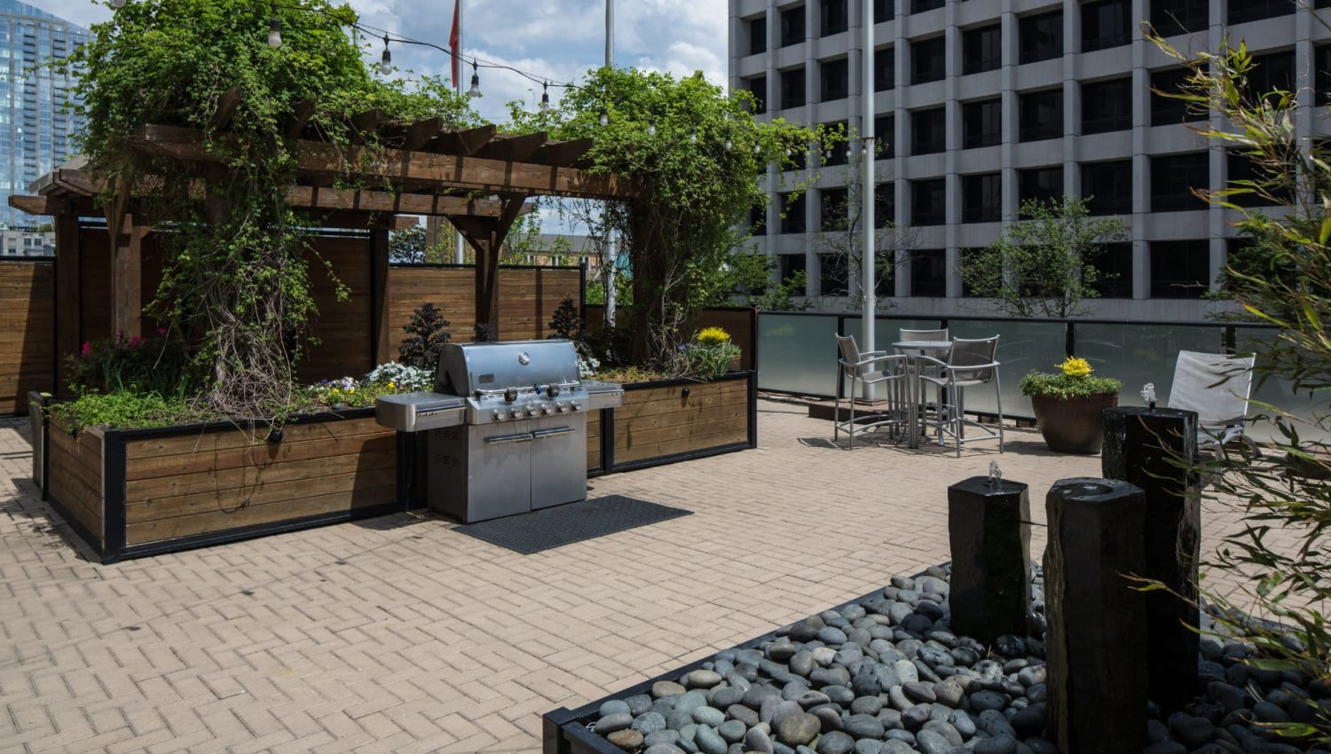 Grill and chill space at Solace on Peachtree in Atlanta, Georgia
