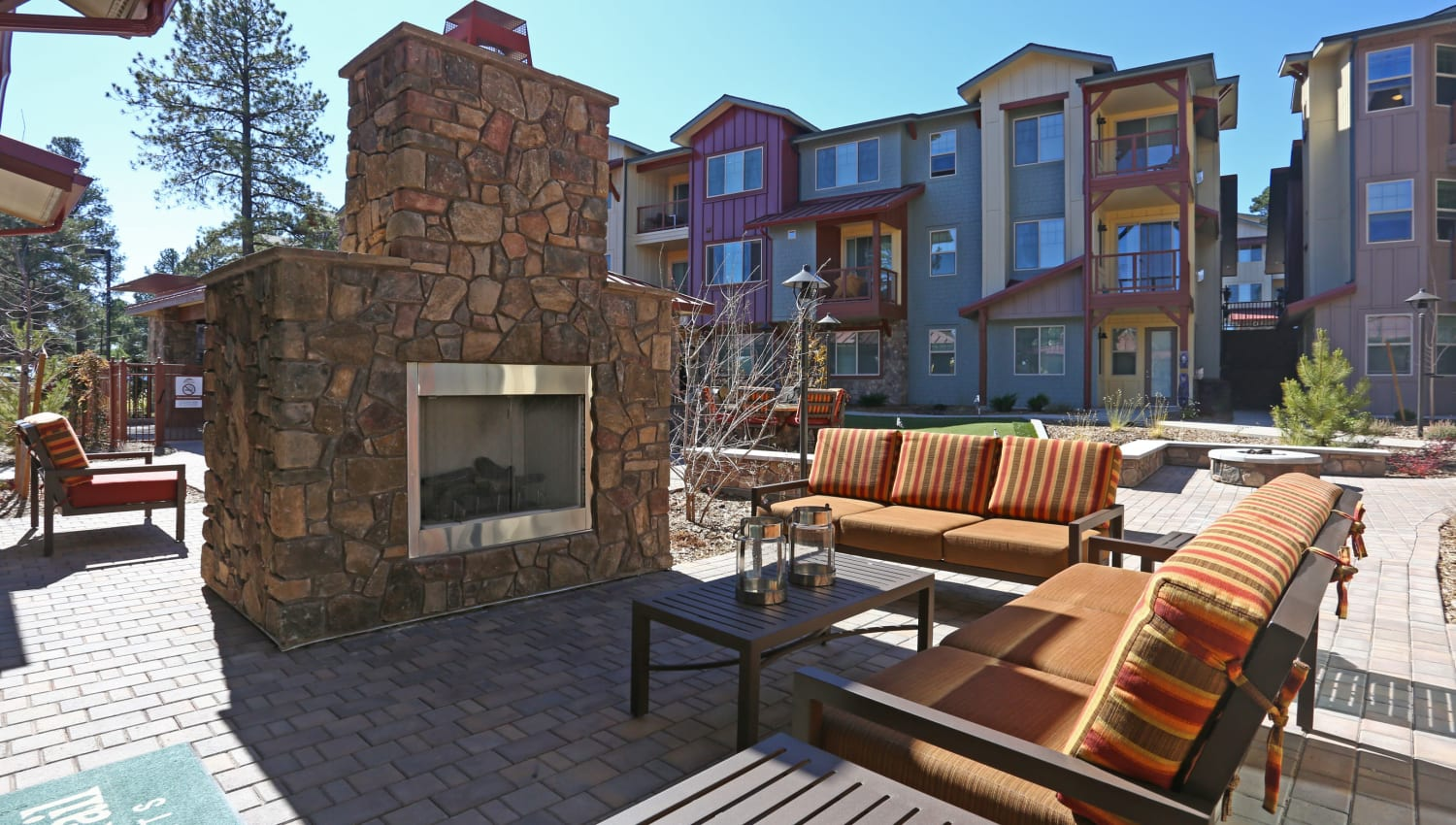 Outdoor fireplace at Mountain Trail in Flagstaff, Arizona