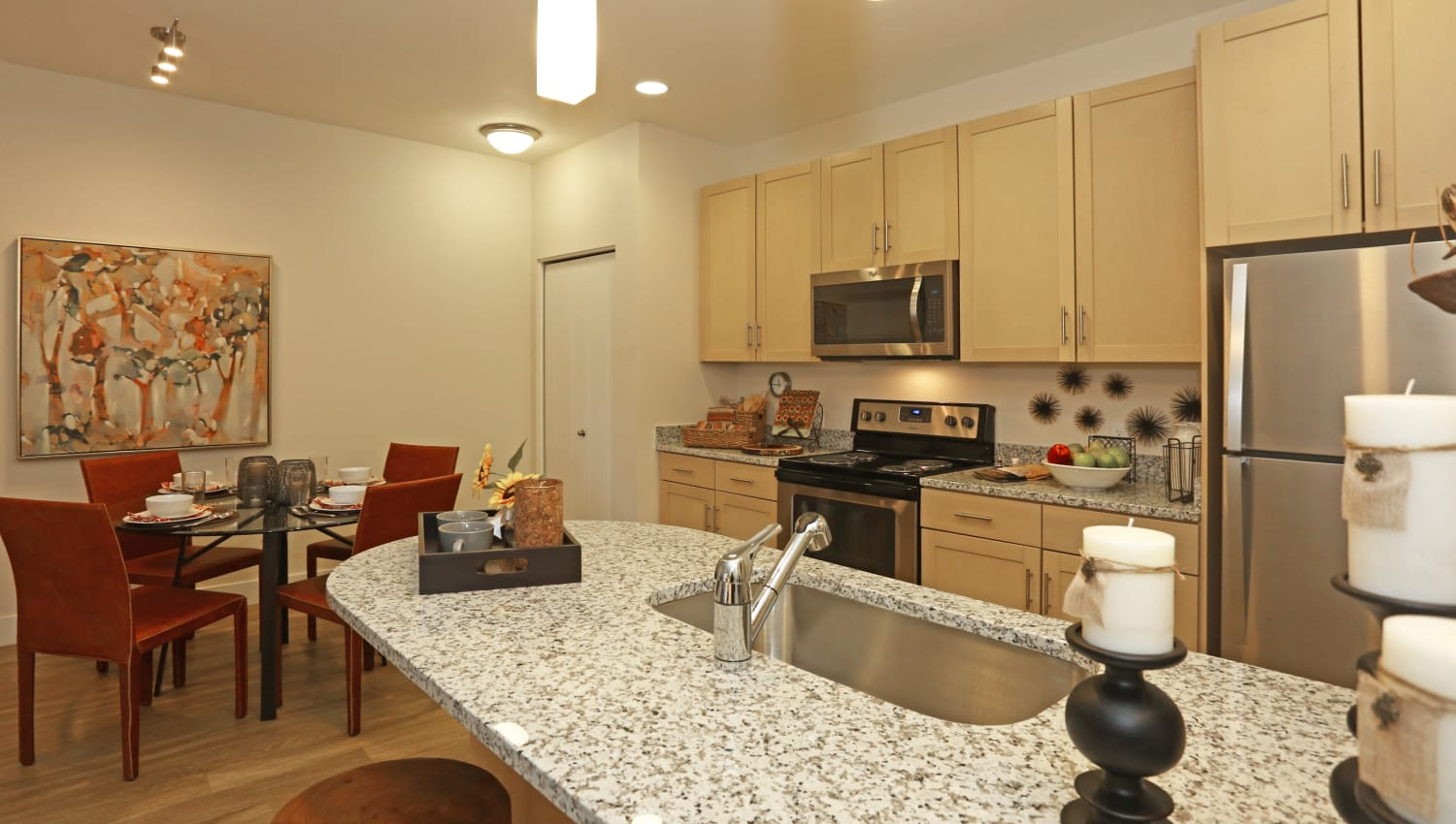 Spacious counters in the kitchens at Mountain Trail in Flagstaff, Arizona