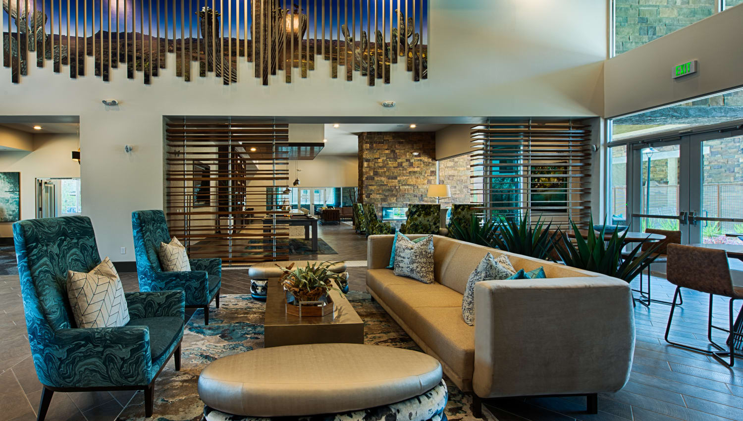 Cozy couches at Ocio Plaza Del Rio's clubhouse in Peoria, Arizona