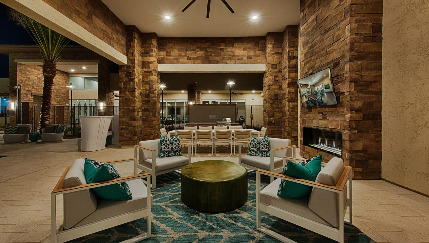 Clubhouse lounge at Ocio Plaza Del Rio in Peoria, Arizona