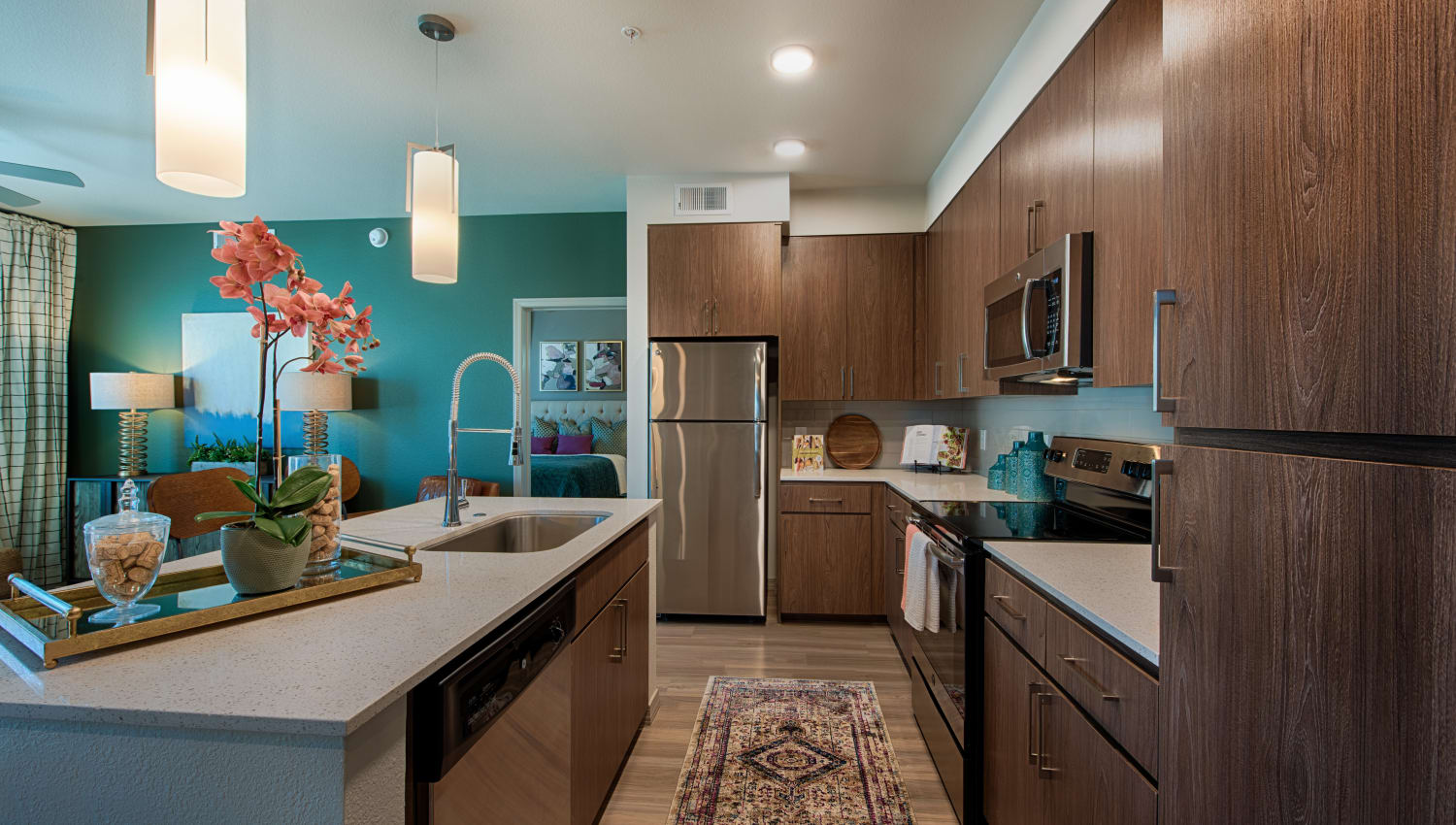 Modern, sleek kitchen at Ocio Plaza Del Rio in Peoria, Arizona
