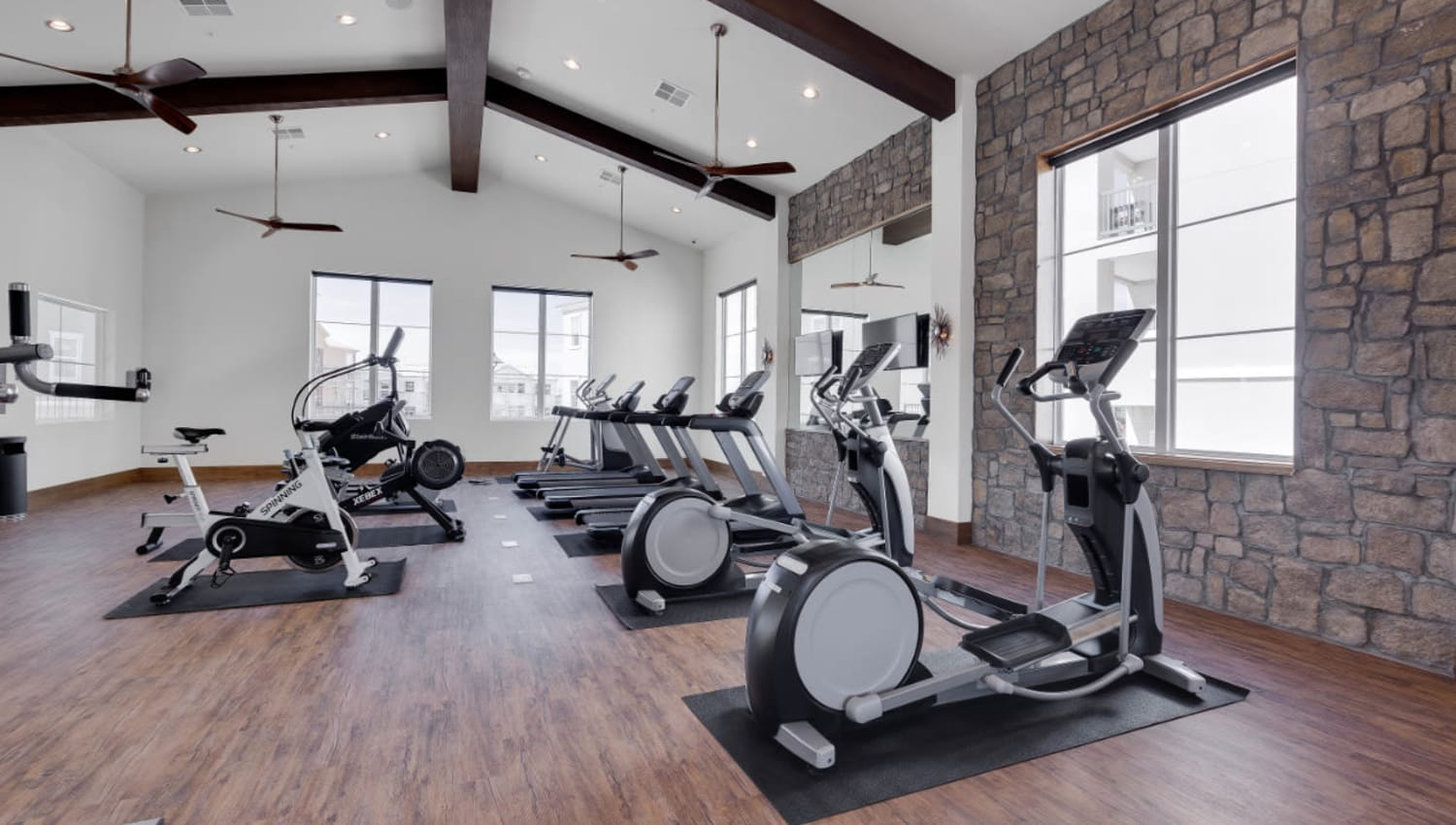 Spin class room at Olympus Rodeo in Santa Fe, New Mexico