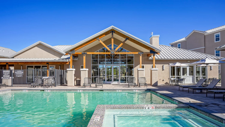 Hot tub and pool at Olympus Rodeo in Santa Fe, New Mexico