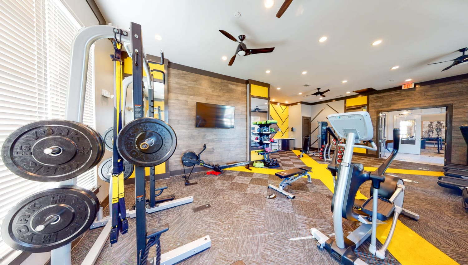 Community gym at The Palmer in Charlotte, North Carolina