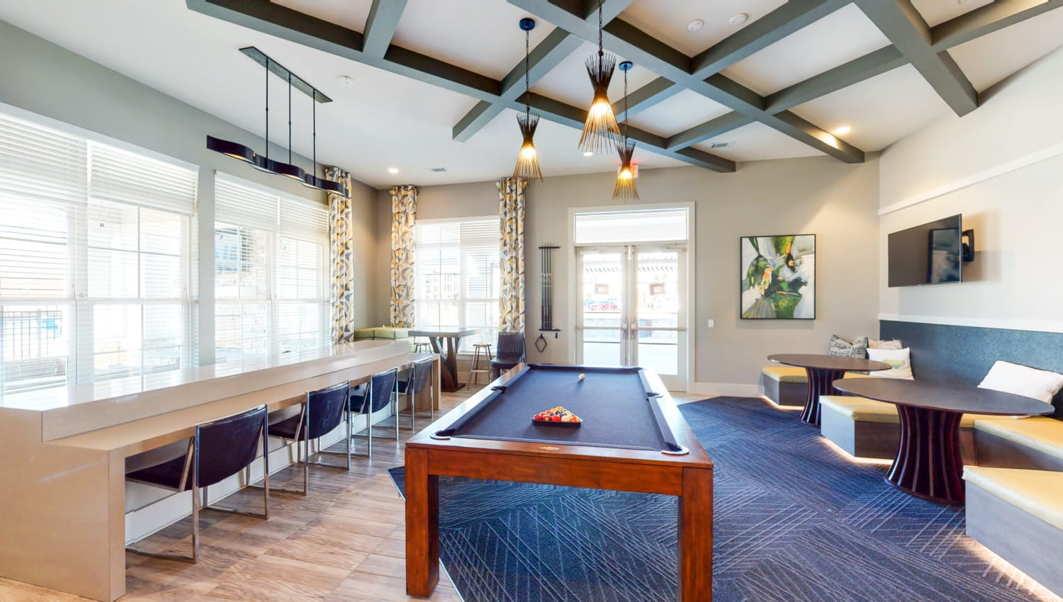 Recreation room with a pool table at The Palmer in Charlotte, North Carolina