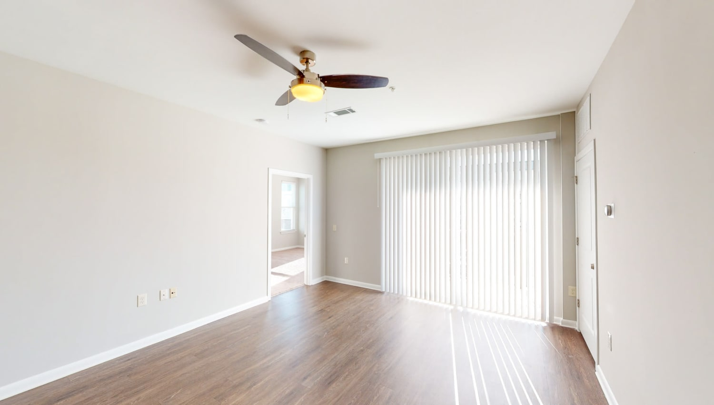 Natural sunlight entering the living room at The Palmer in Charlotte, North Carolina