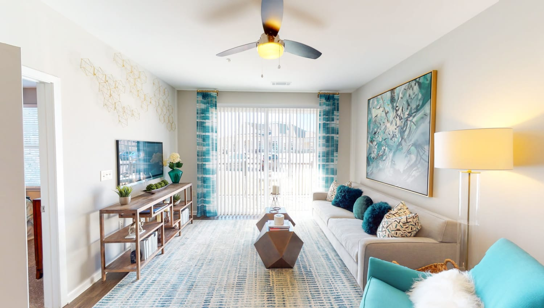 Unit living room at The Palmer in Charlotte, North Carolina
