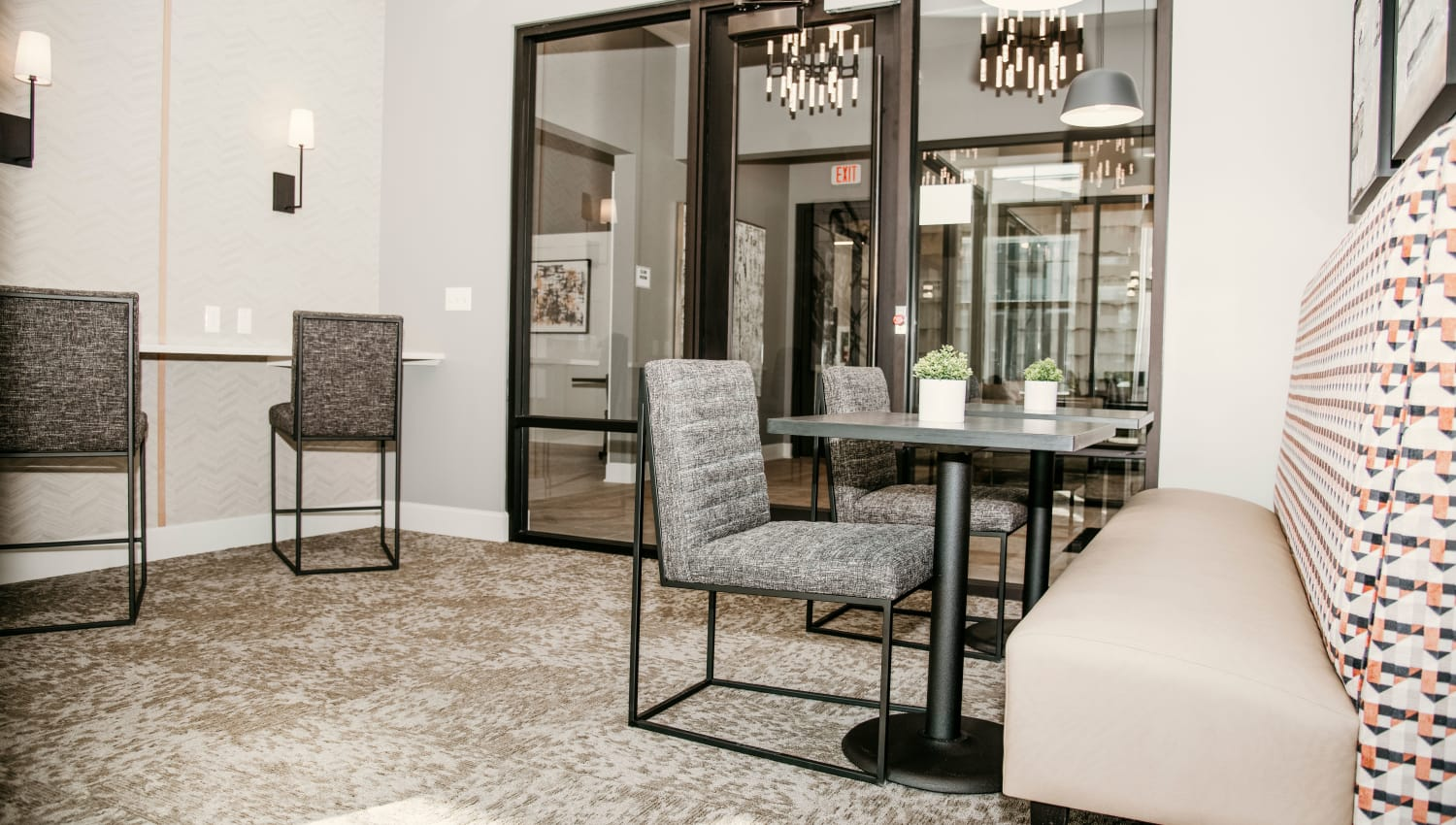 Private co-working space in Club area at The 450 in Lombard, Illinois