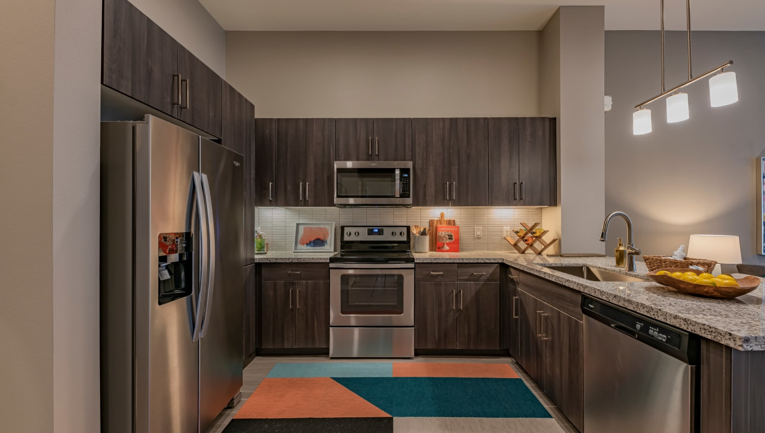 A kitchen with plenty of countertop space at Encore Tessera in Phoenix, Arizona