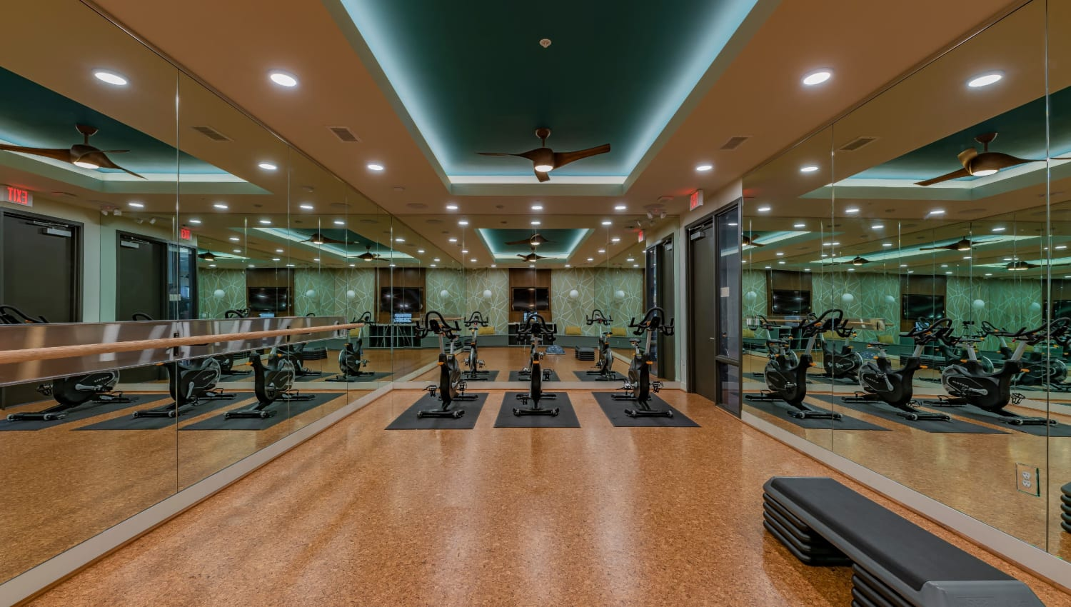 A fitness center with spin bikes at Encore Tessera in Phoenix, Arizona