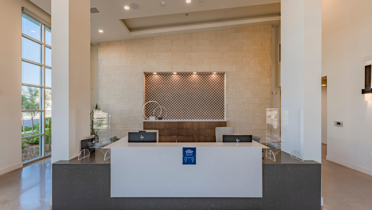 The front desk in the lobby at Encore Tessera in Phoenix, Arizona