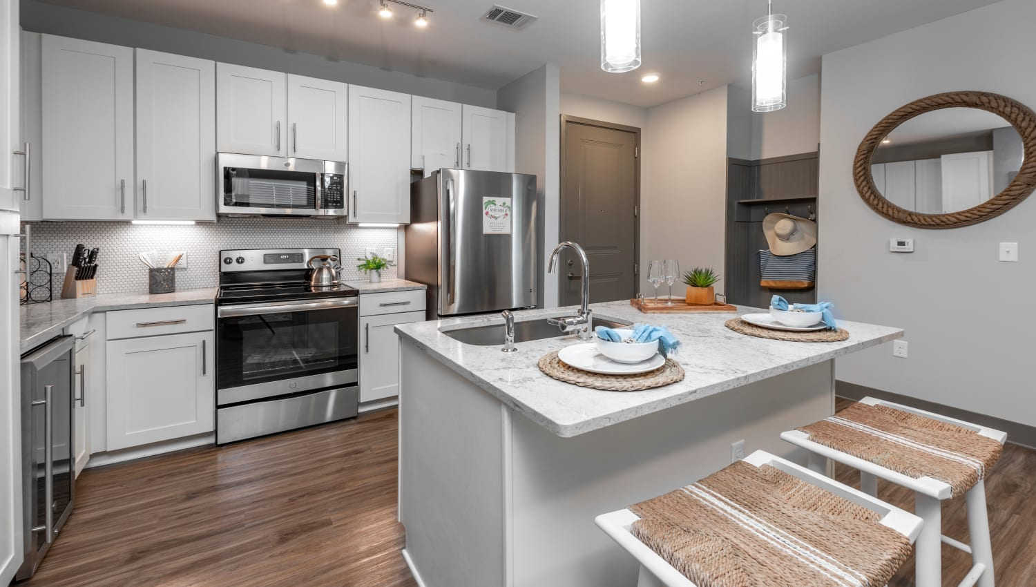A kitchen with plenty of countertop space at Olympus Emerald Coast in Destin, Florida
