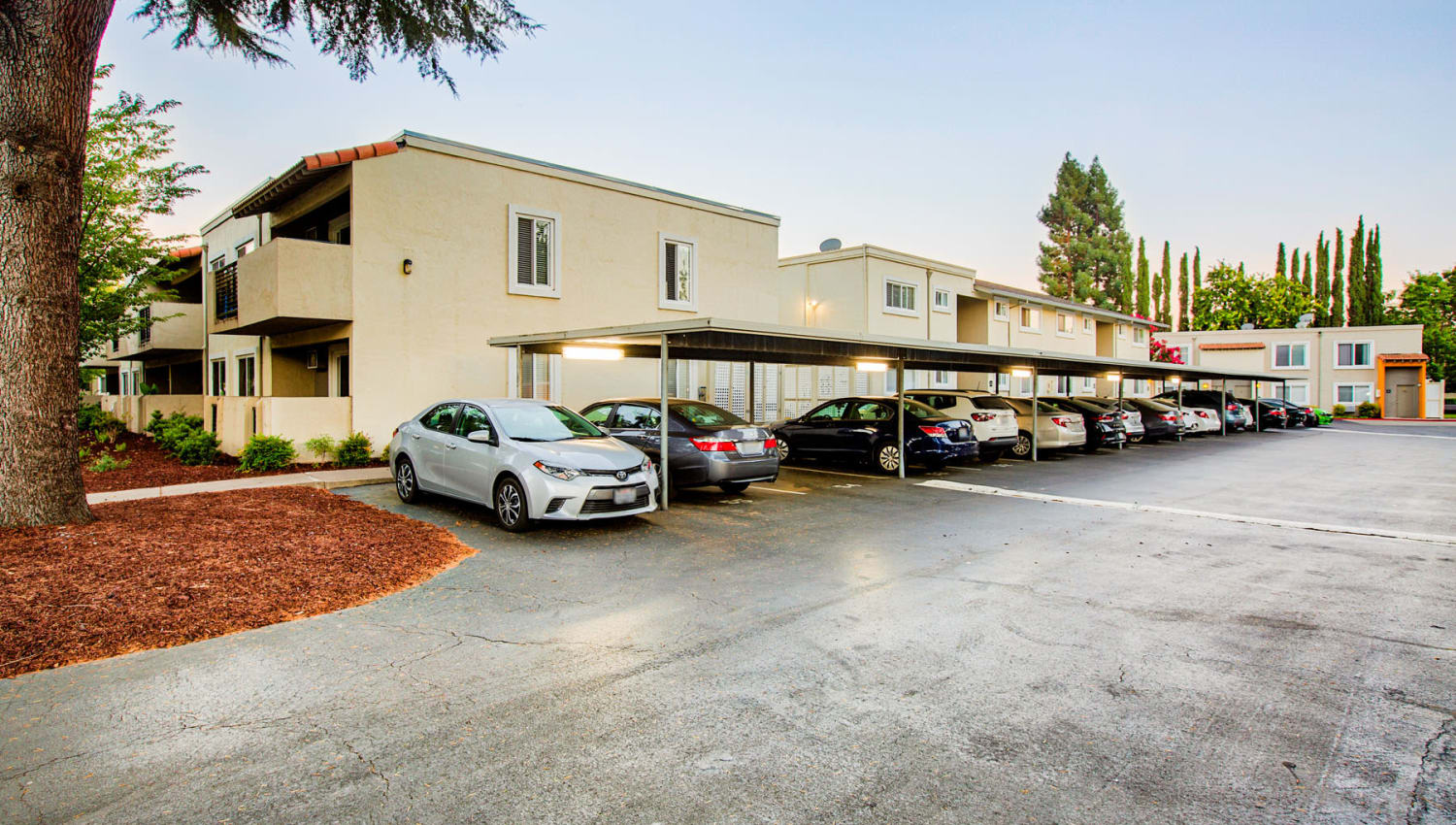Assigned covered parking at Pleasanton Place Apartment Homes in Pleasanton, California