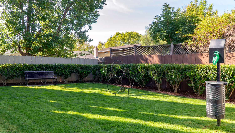 Onsite bark park at Pleasanton Place Apartment Homes in Pleasanton, California