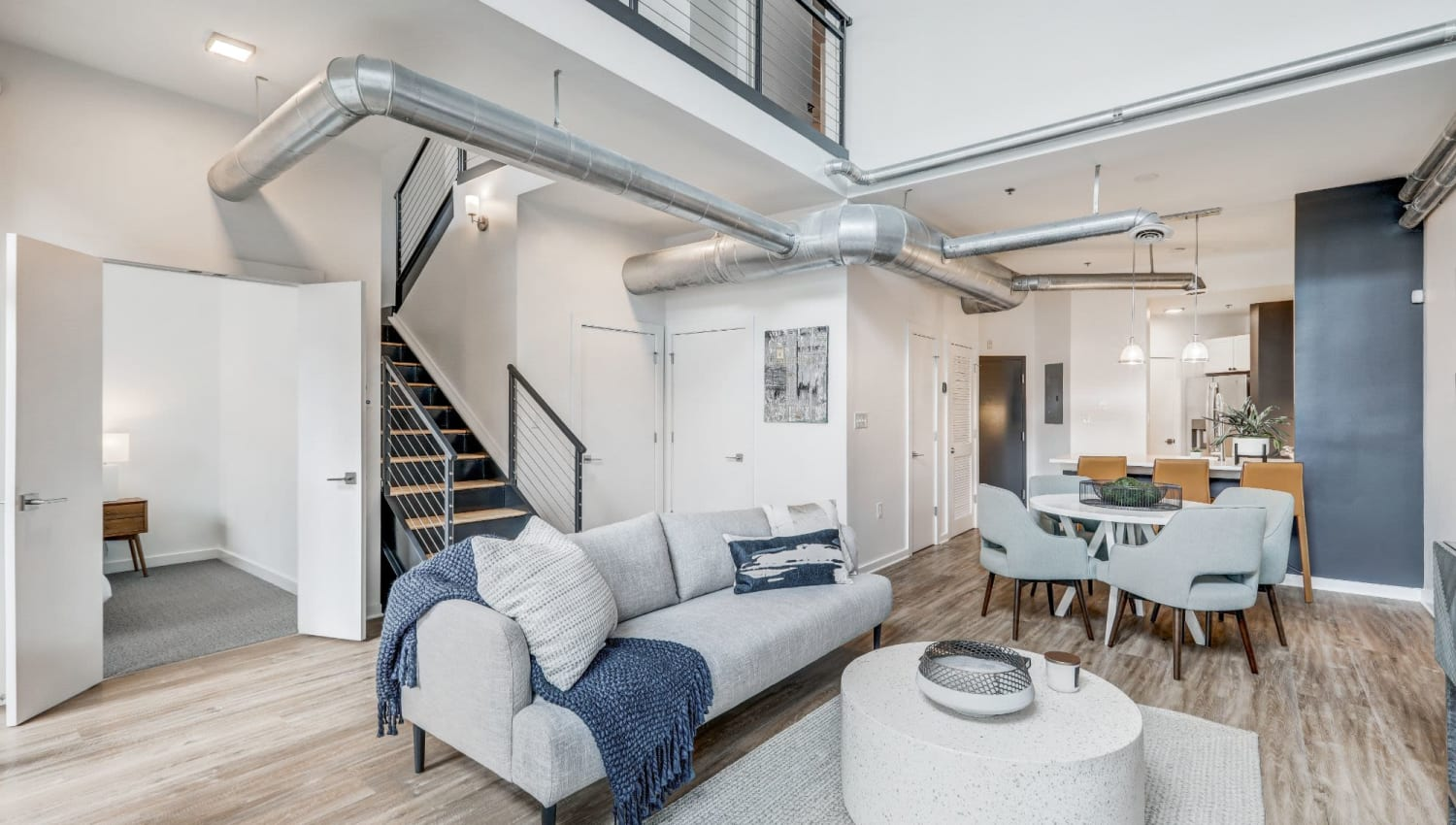 Incredible modern loft decorated ready for move in at 17th Street Lofts in Atlanta, Georgia