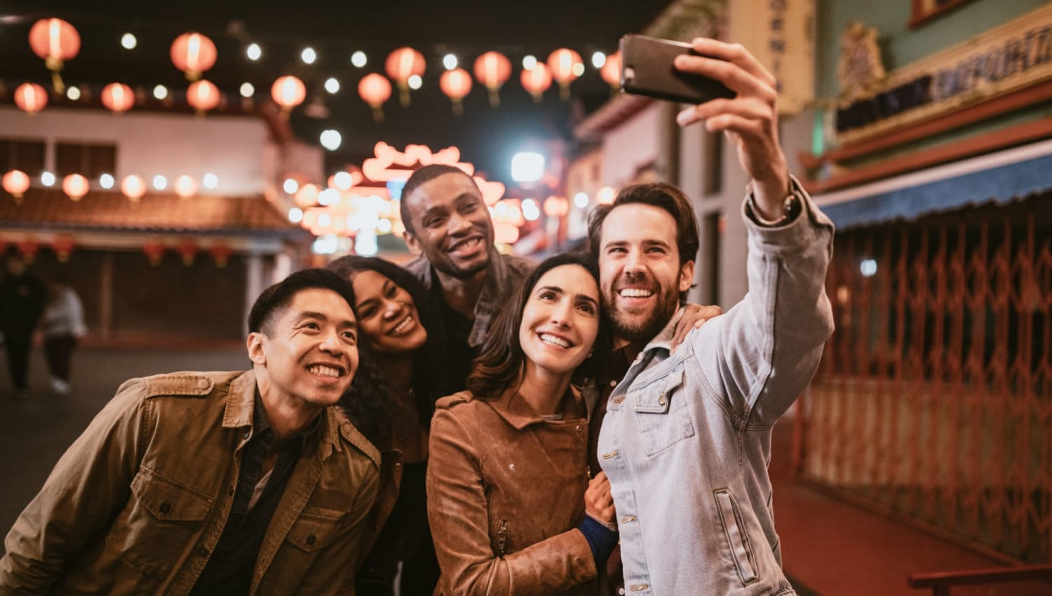 Group selfie at their favorite restaurant near The Residences at Sawmill Station in Morton Grove, Illinois