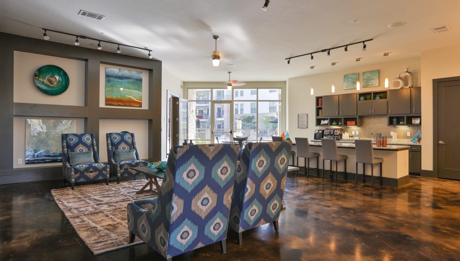 Lounge area for the residents at Olympus at Waterside Estates in Richmond, Texas