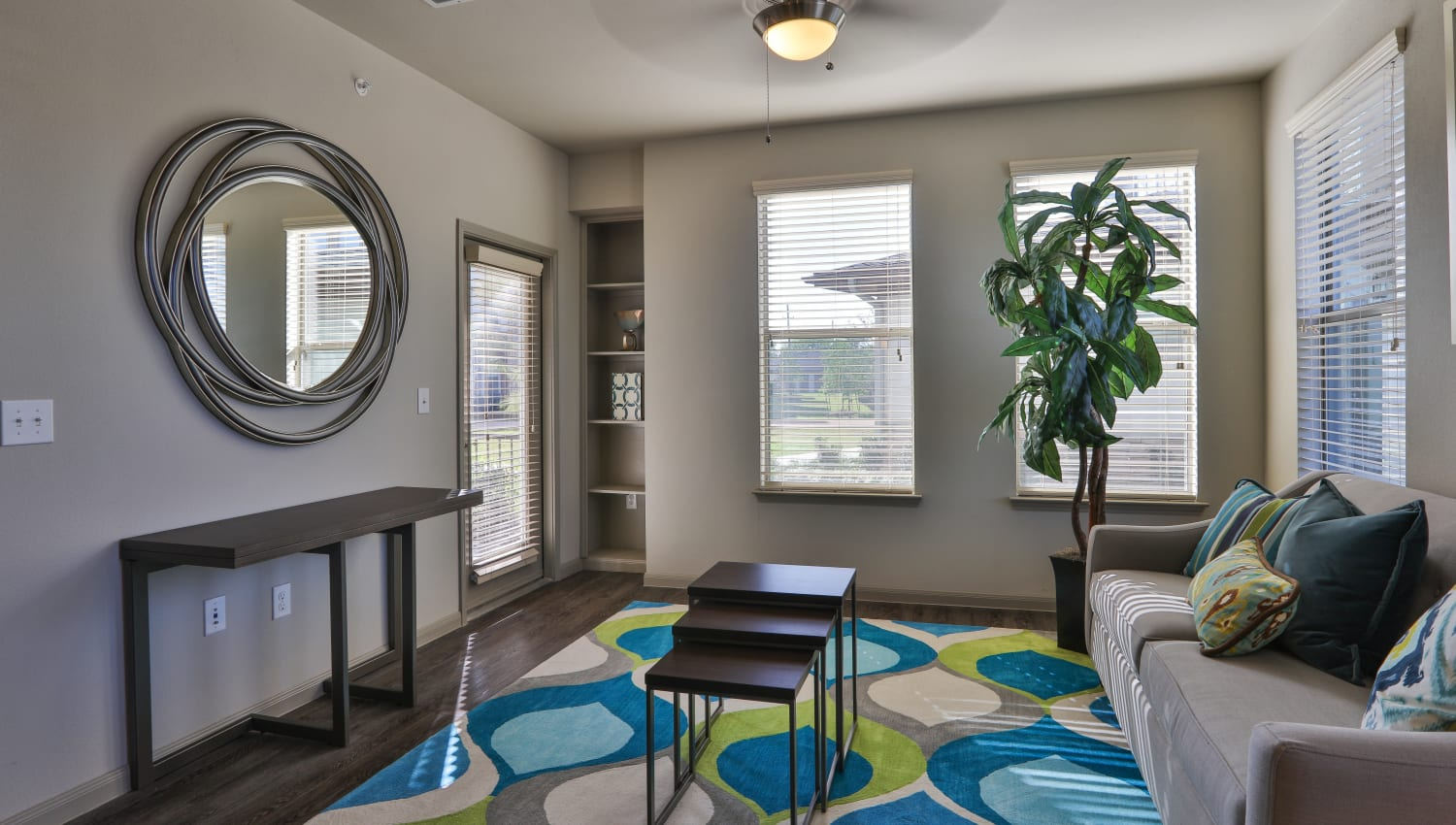 Living room with mirror and plants at Olympus at Waterside Estates in Richmond, Texas