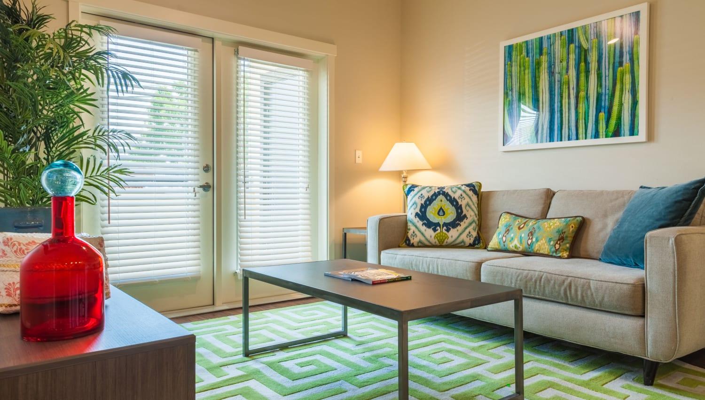 Model living room at Capitol Flats in Santa Fe, New Mexico