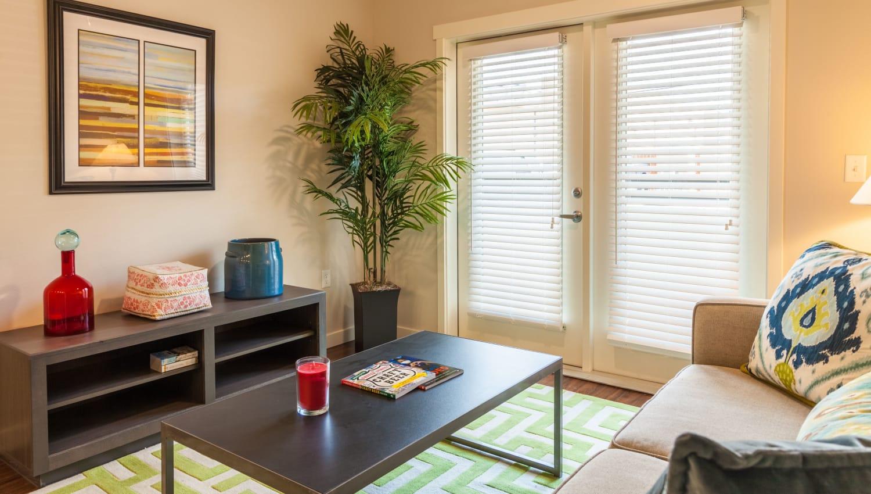 Model living room Capitol Flats in Santa Fe, New Mexico