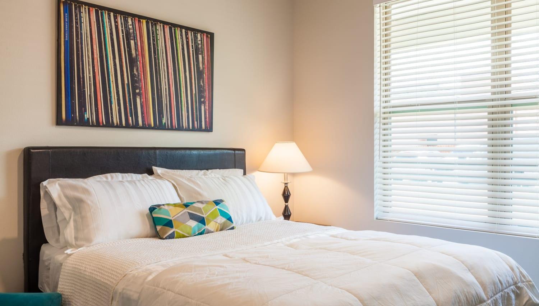 Model bedroom at Capitol Flats in Santa Fe, New Mexico