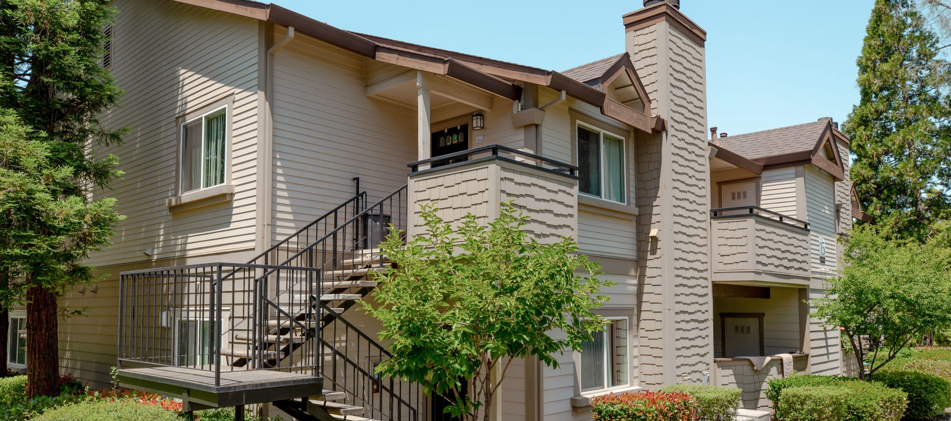 Balconies that overlook groomed property at Shaliko in Rocklin, California.