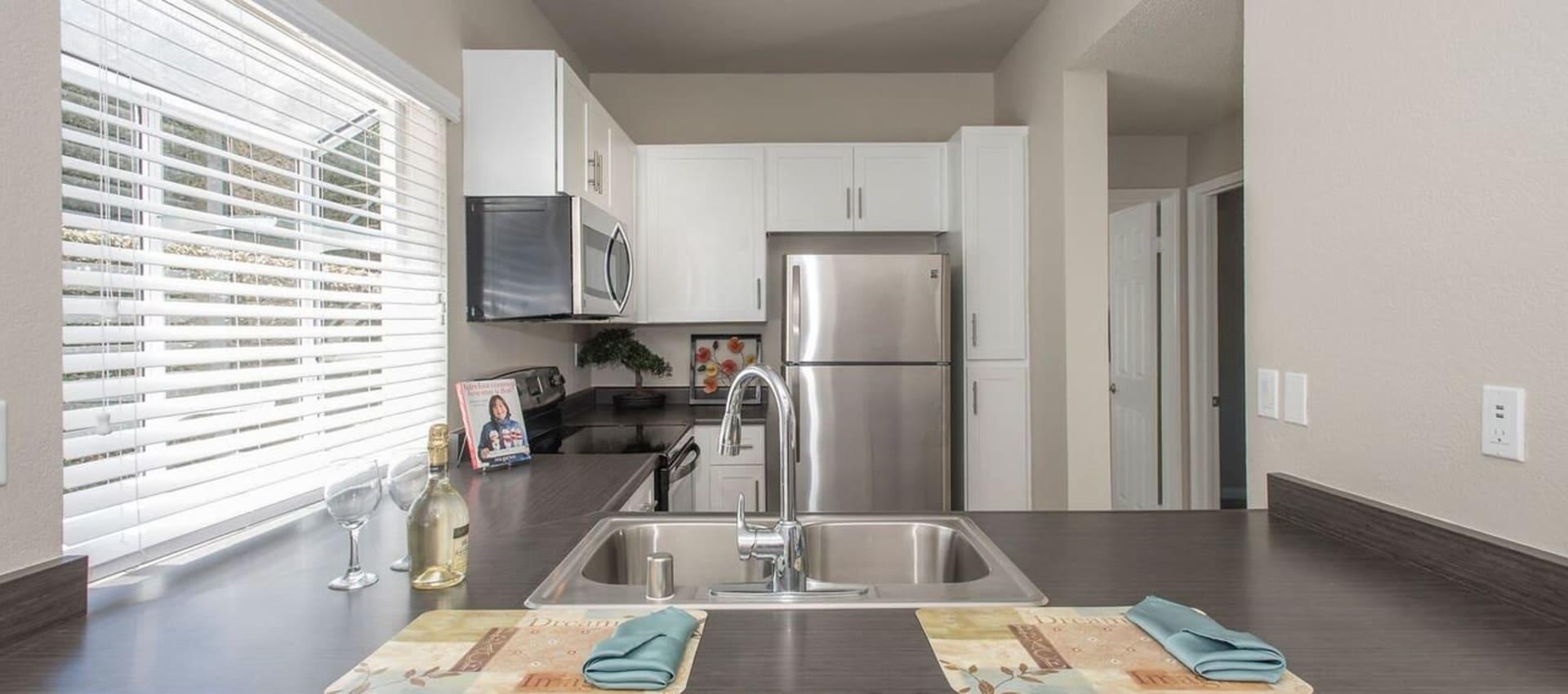 Kitchen with stainless steel appliances at Niguel Summit Condominium Rentals in Laguna Niguel, CA