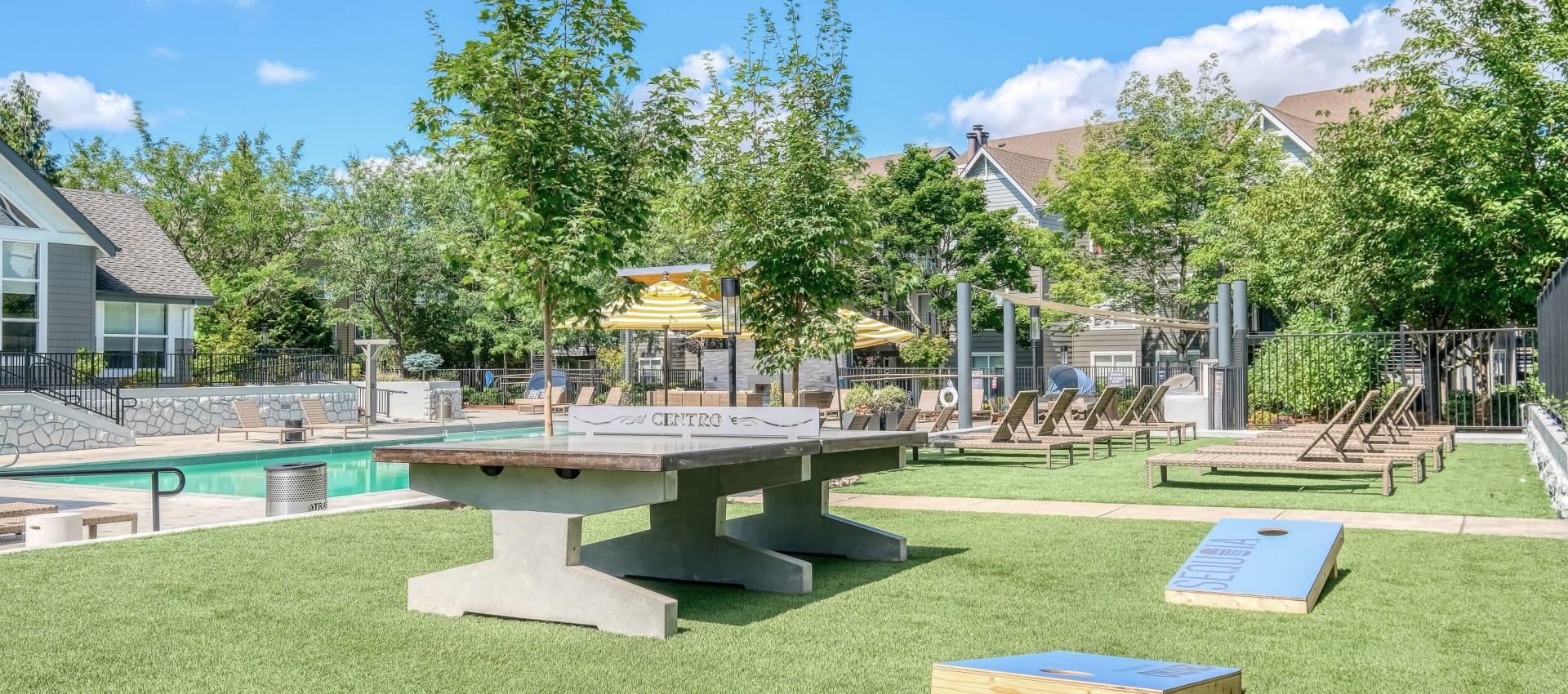 Outdoor activity area at Centro Apartment Homes in Hillsboro, Oregon