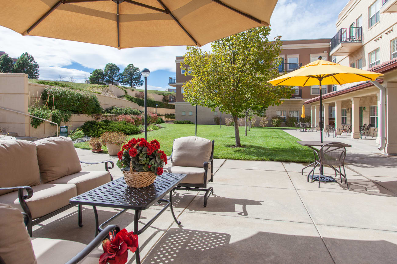 Patio at our senior living community in Greenwood Village, Colorado