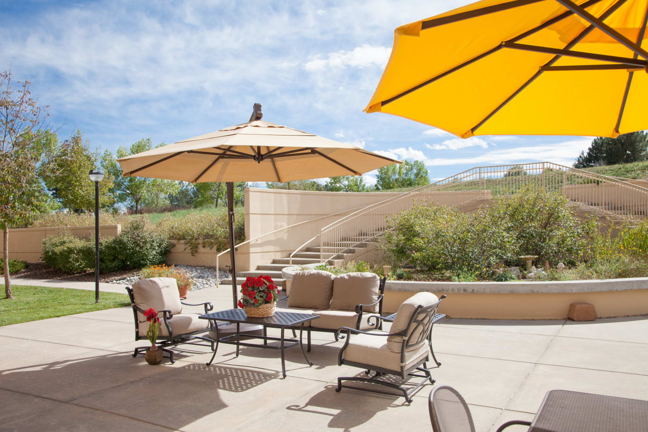 The Inn at Greenwood Village offers comfy outdoor seating for residents and their families