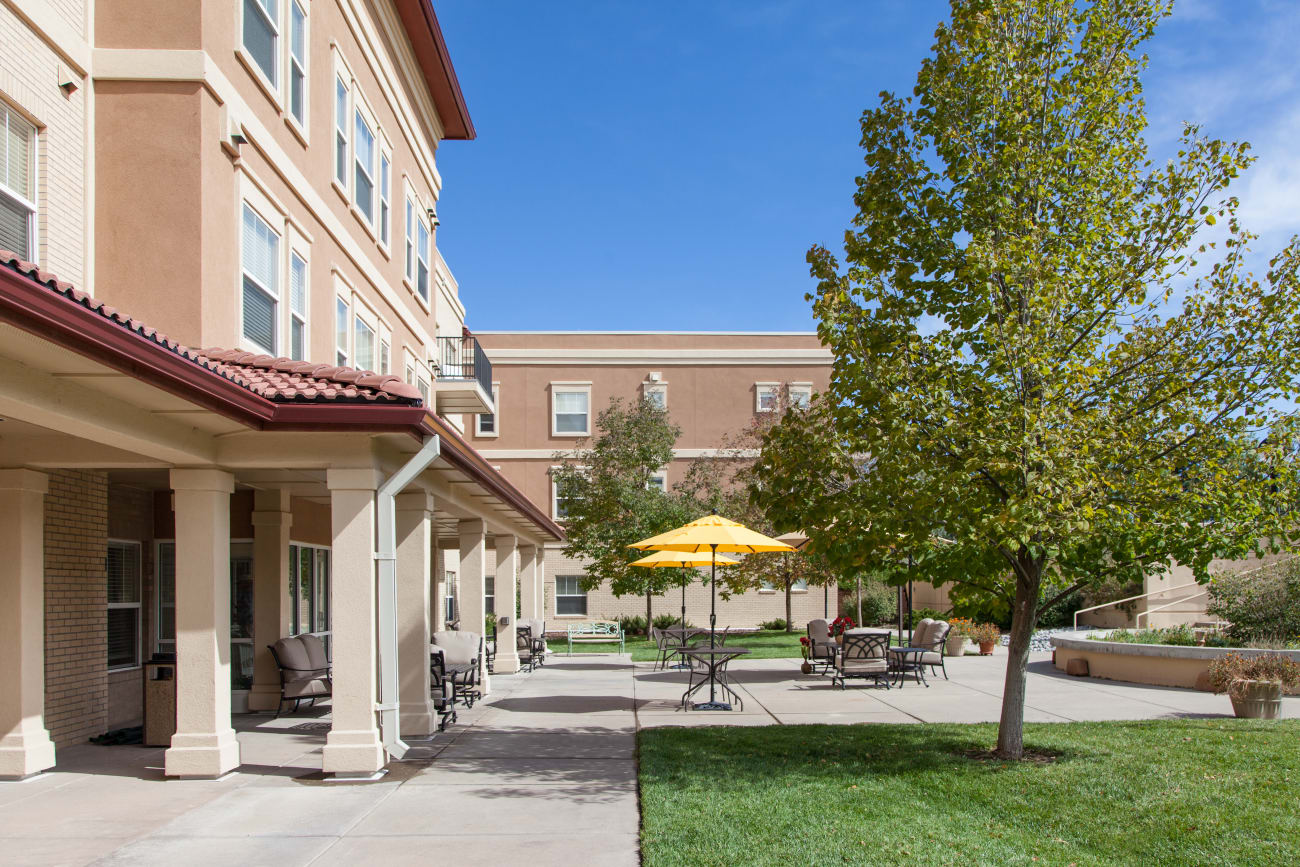 Front entrance at senior living community in Greenwood Village, Colorado
