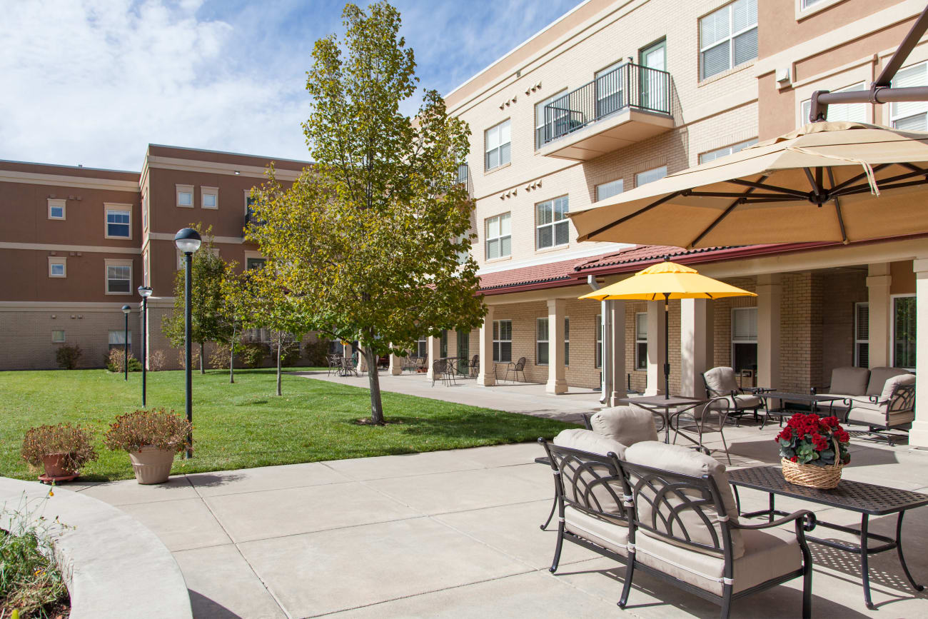 A shady place for residents to enjoy the sun at The Inn at Greenwood Village