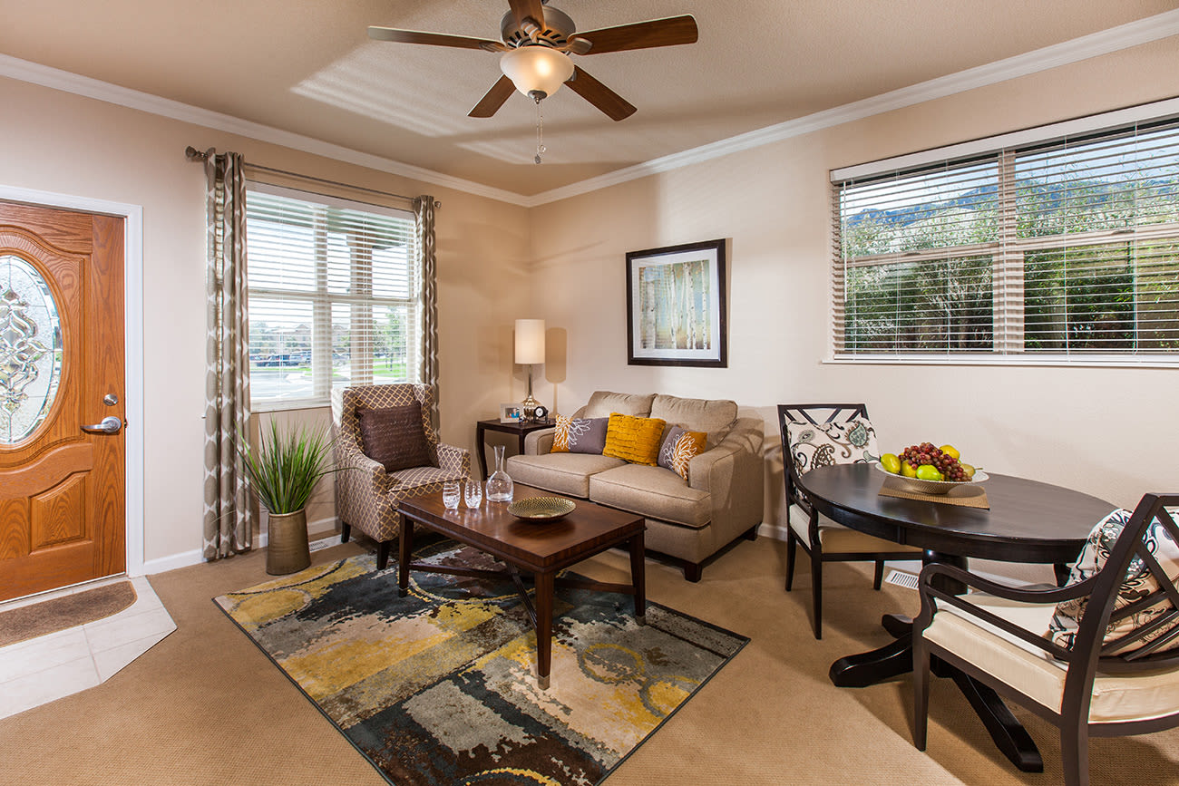 A living room layout at The Palisades at Broadmoor Park