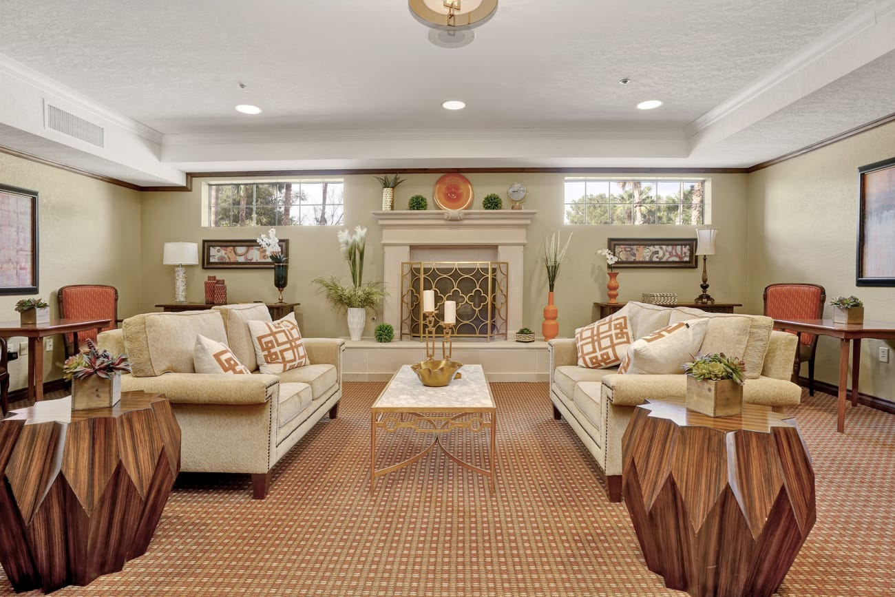 Comfortable white sofas at The Country Club of La Cholla