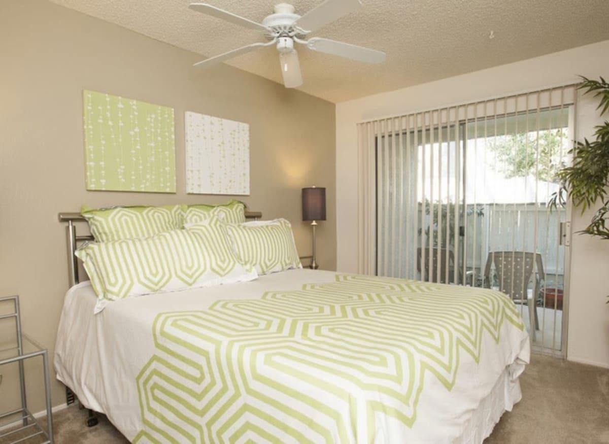 Spacious bedroom at River Blu in Sacramento, California