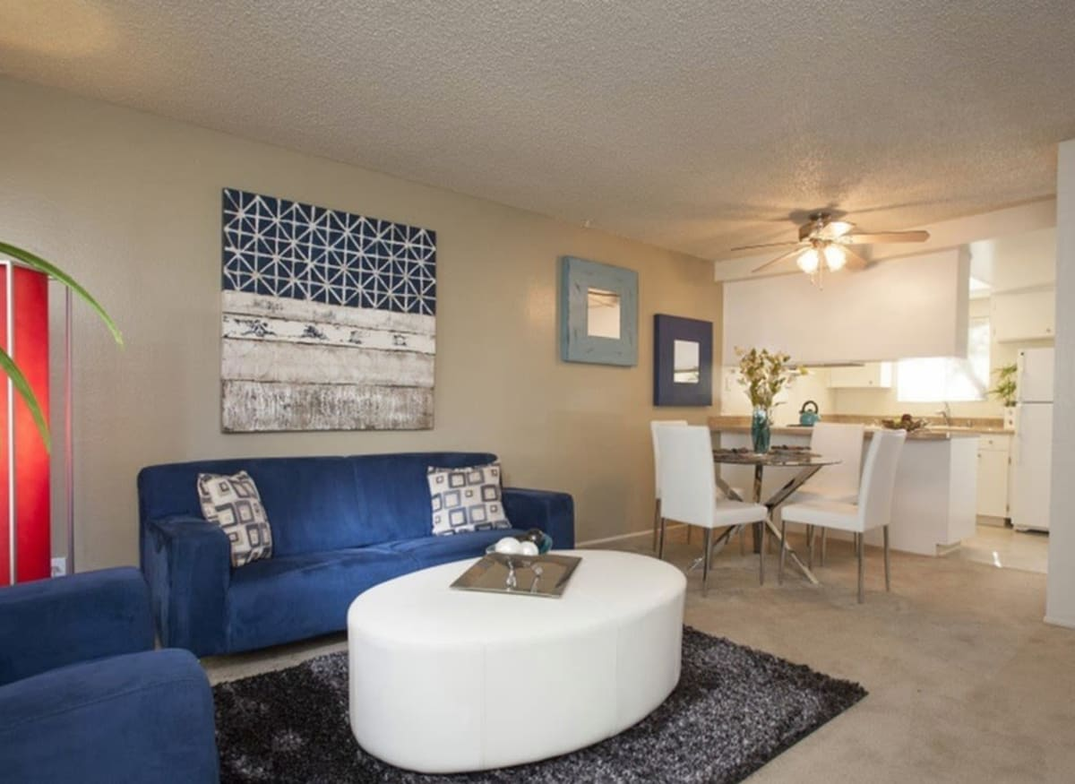 Spacious living room and coffee table in model apartment home of River Blu in Sacramento, California