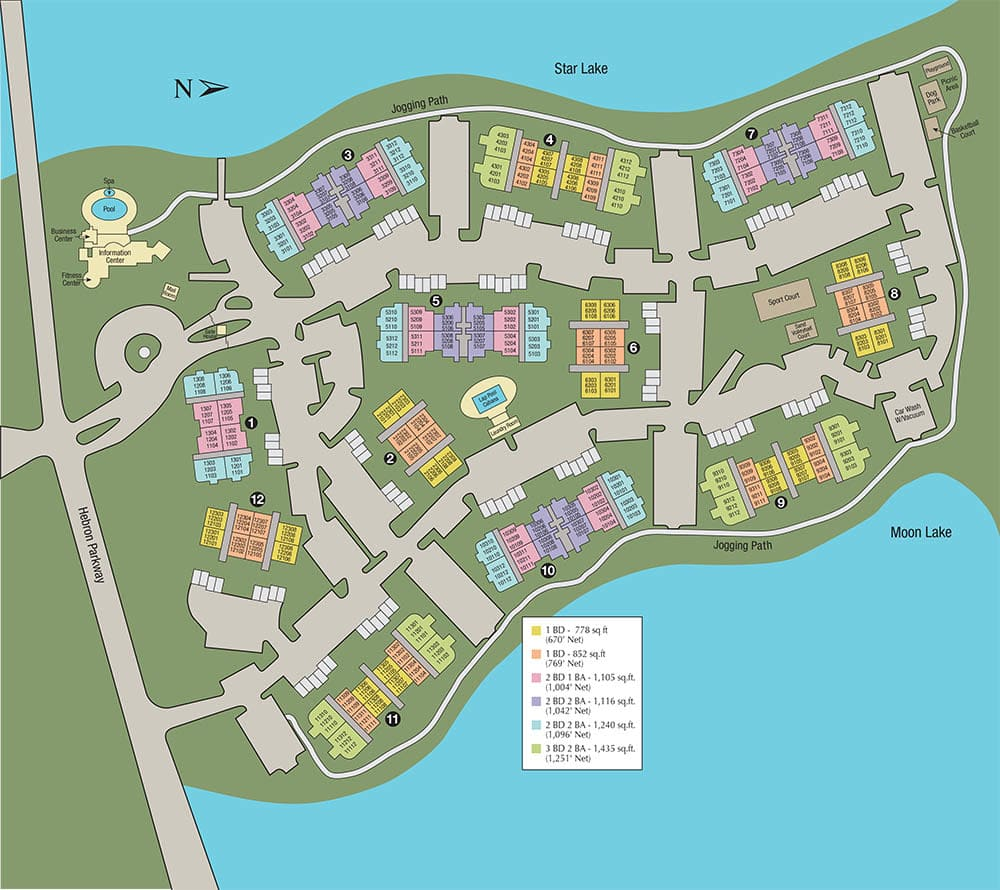 Site map of Crescent Cove at Lakepointe in Lewisville, TX