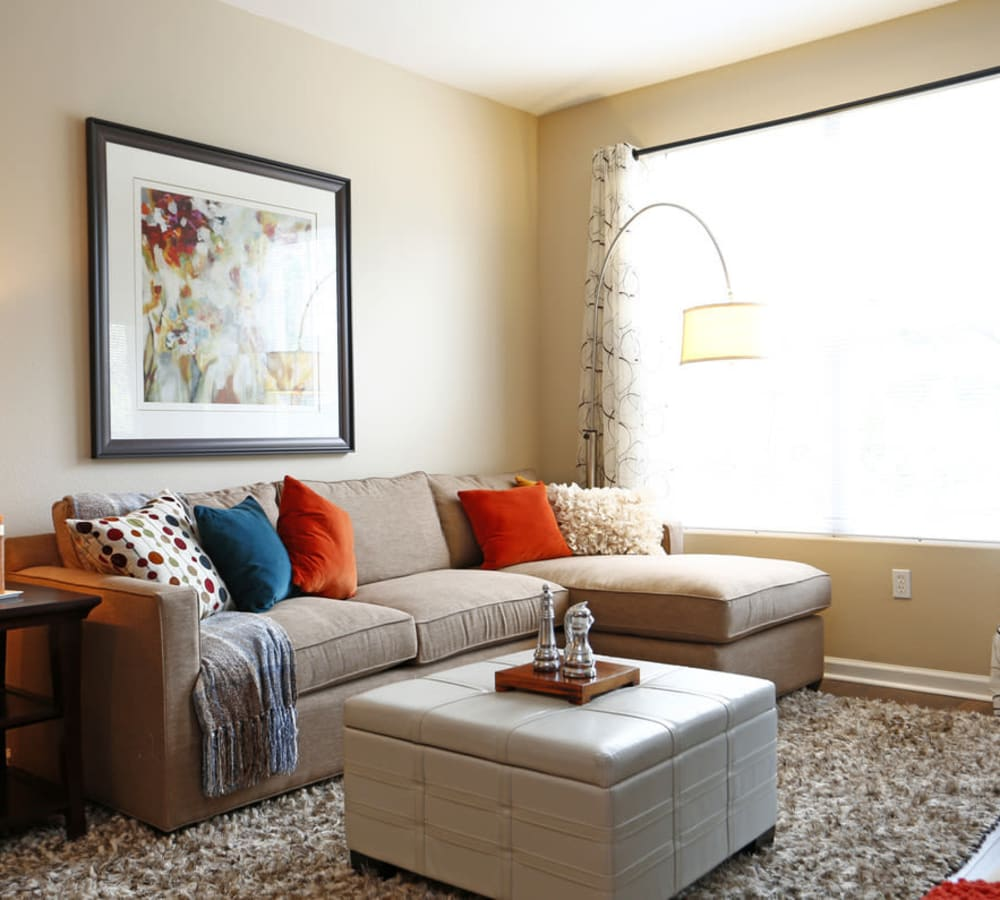 Living room with plush carpeting at Park Central in Concord, California