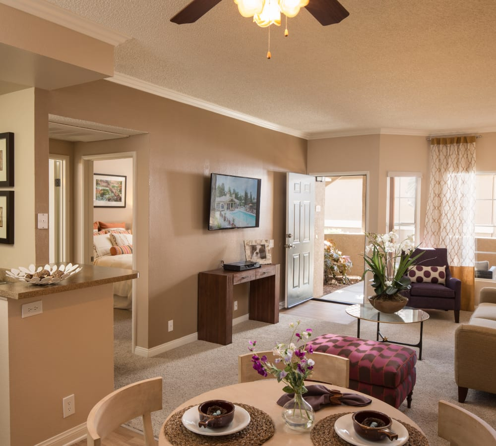 Large living room next to the dining room at Paloma Summit Condominium Rentals in Foothill Ranch, California