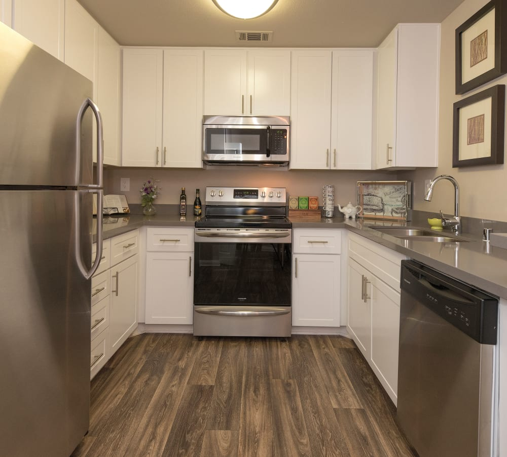 Kitchen with lots of cabinets at Paloma Summit Condominium Rentals in Foothill Ranch, California
