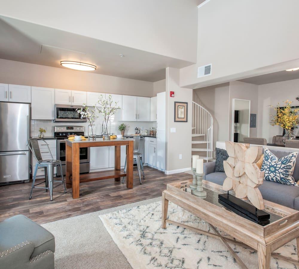 Kitchen over looking the living room at Venu at Galleria Condominium Rentals in Roseville, California