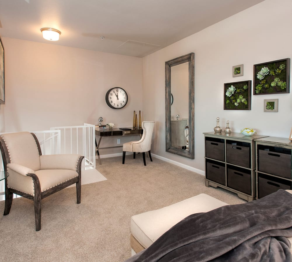 Master bedroom with an office nook at Venu at Galleria Condominium Rentals in Roseville, California