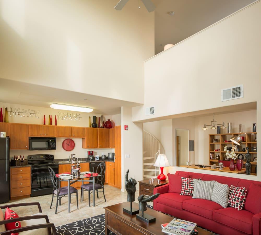 Spacious living room for entertaining guests at Venu at Galleria Condominium Rentals in Roseville, California