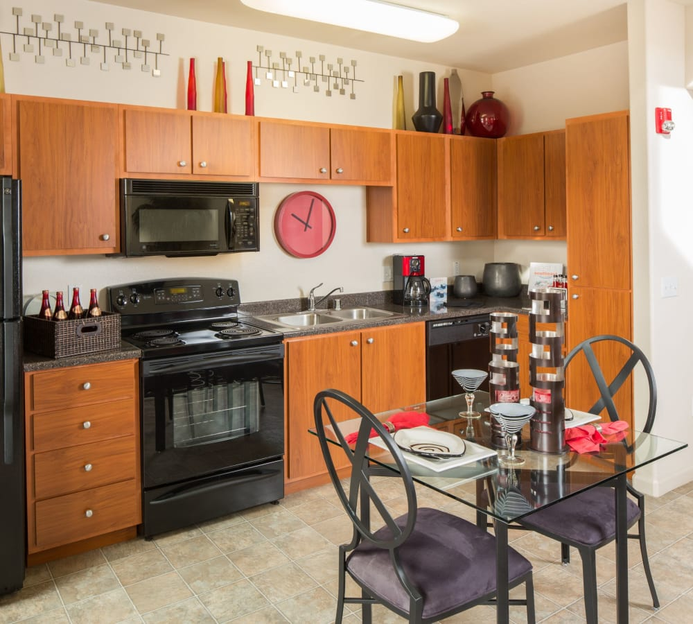 Kitchen with plenty of counter top space at Venu at Galleria Condominium Rentals in Roseville, California