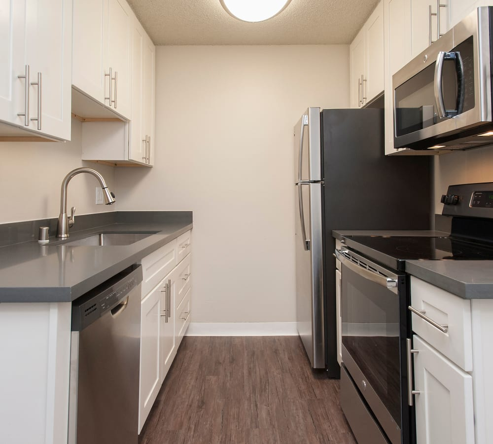 Spacious kitchen with stainless-steel appliances at Regency Plaza Apartment Homes in Martinez, California