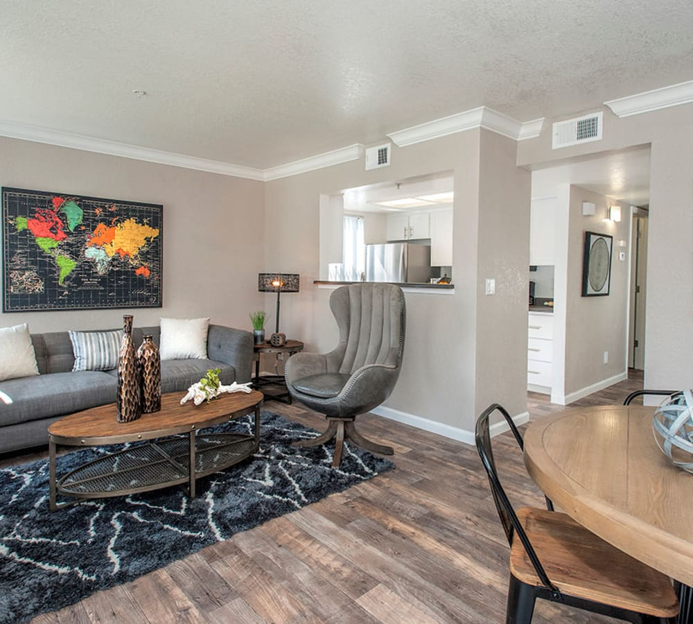 Kitchen with a pass-through window to the living room at Sandpiper Village Apartment Homes in Vacaville, California