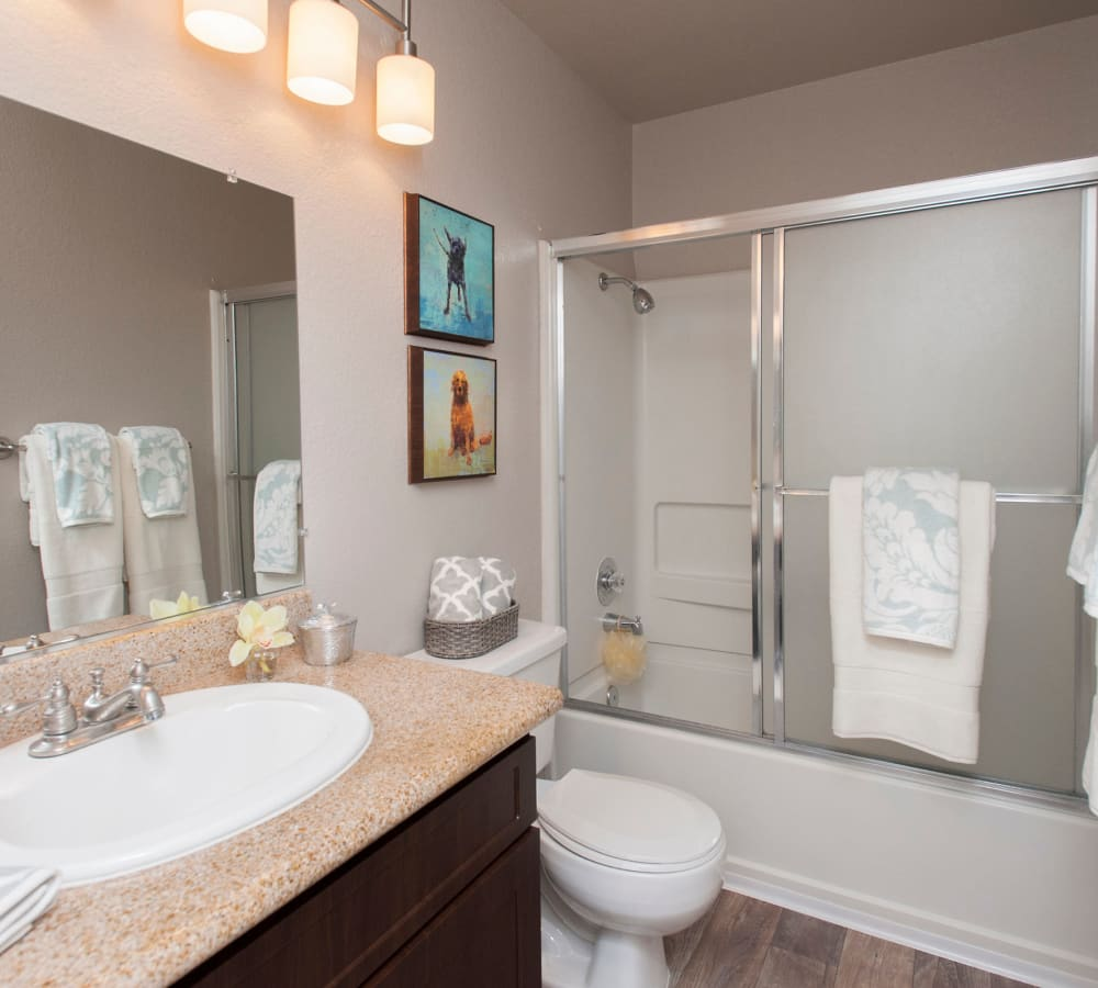 A vanity and shower in a bathroom at Deer Valley Apartment Homes in Roseville, California