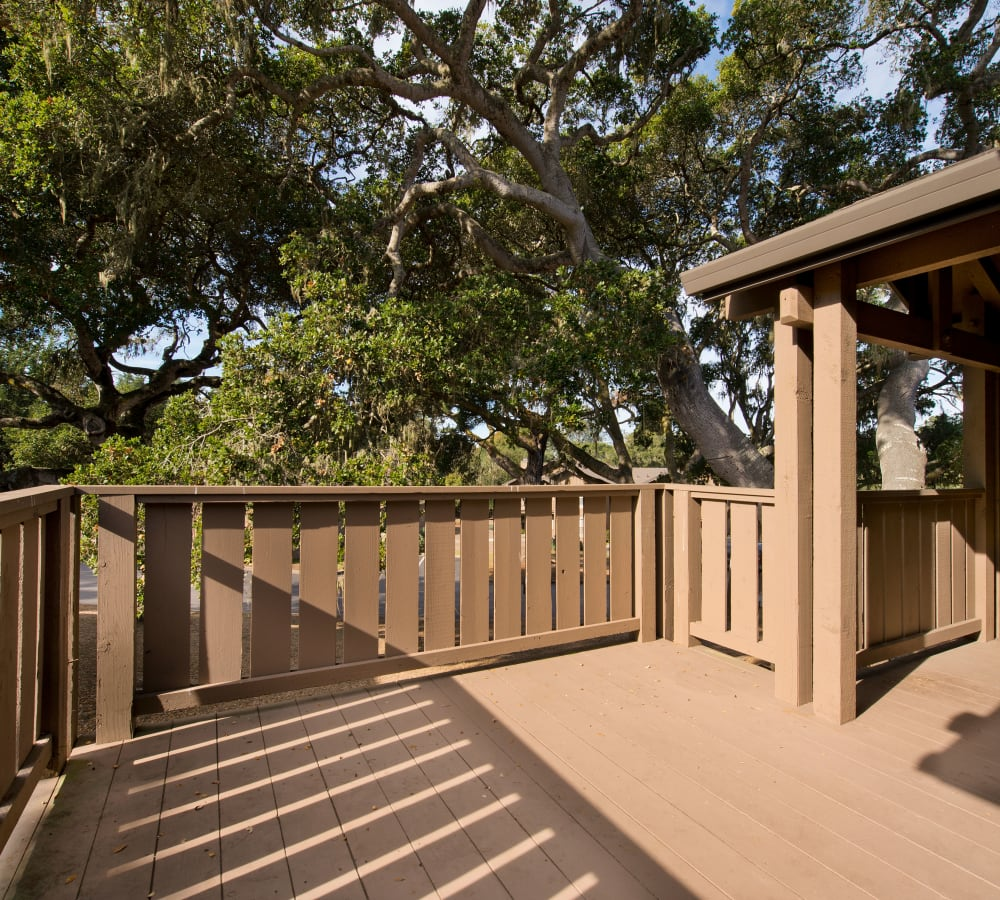 Spacious back patio at Seventeen Mile Drive Village Apartment Homes in Pacific Grove, California